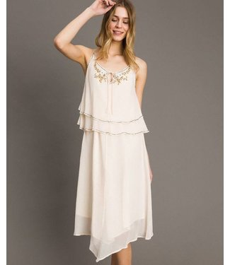 Twin-Set Woven Straps Dress Pearls Milkyway