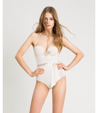 Twin-Set Bathing Suit Ivory Ribbon