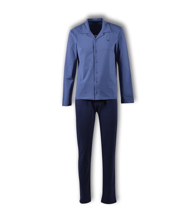 Woody Herenpyjama 192-1-QBT-Z/912 Blauw Gestreept