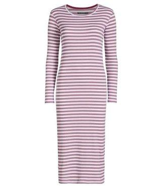 Essenza Oprah Nightdress Long Sleeve  Rib Stripe Dusty Lilac