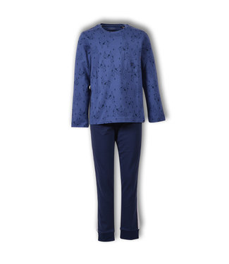 Woody Herenpyjama Alpaca Blauw 192-1-QRL-Z/982