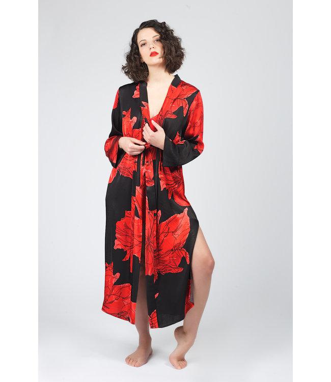 Hays Vegan Kimono & Pants Desenli Kirmizi