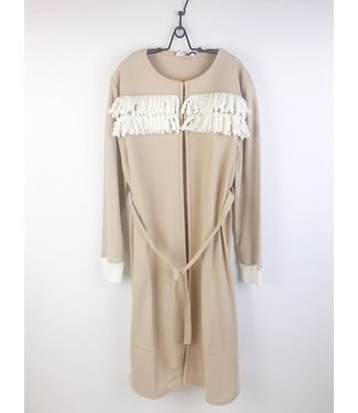 Twin-Set Cosy Robe Fringes Warm Beige