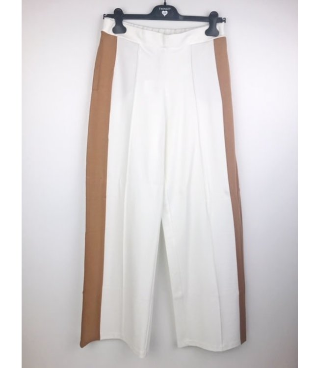 Twin-Set Wide Legged Pants Bicolor Avorio