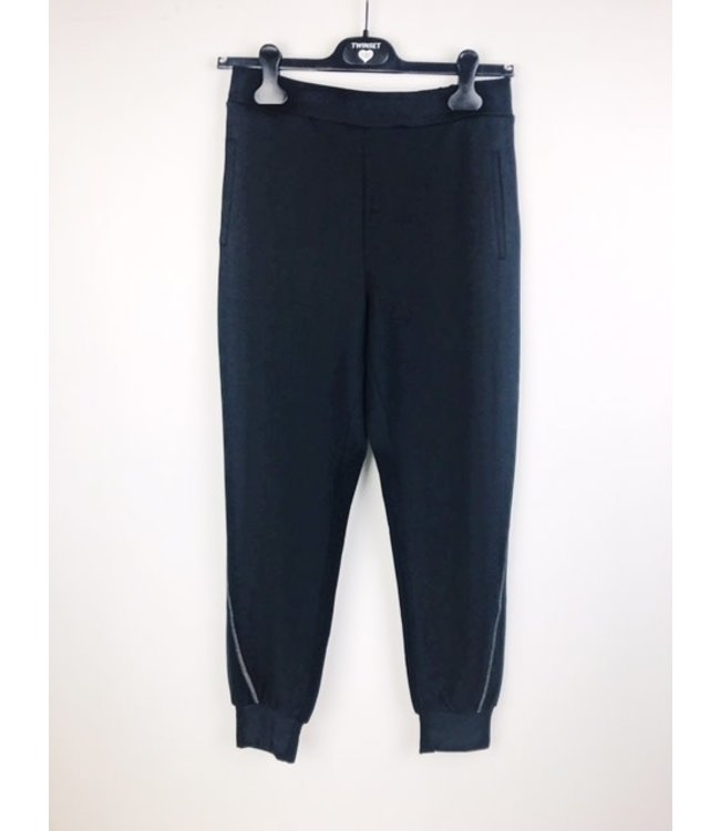Twin-Set Lounge Pants Silver Stitch Nero