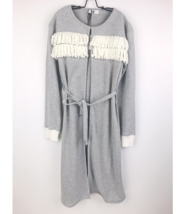 Twin-Set Cosy Robe Fringes Grigio
