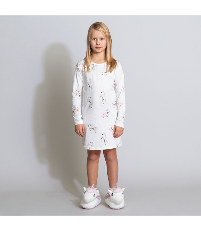 Snurk Unicorn White Long Sleeve Dress Kids