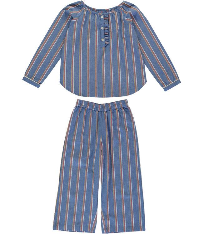 Dorélit Brigitte+Alkes Kidspyjama Flanel Stripe Blue