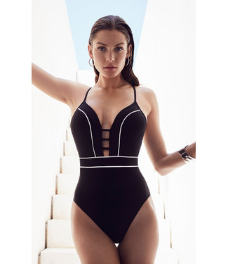 Jets Swimwear Plunge Onepiece Black/White Stripes J10618
