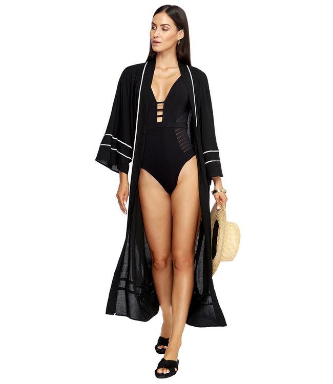 Jets Swimwear Kimono black/White Lines J60542