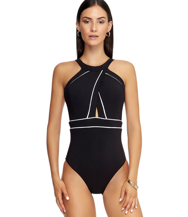 Jets Swimwear High Neck Onepiece Black/White Stripes