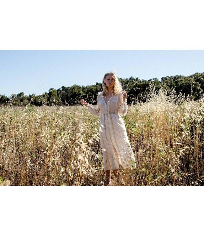 Louise Misha Dress Milla White/Gold Stripes