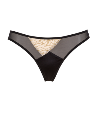 Judith Tanga Slip D'Or Golden French Lace & Black Satin Lycra