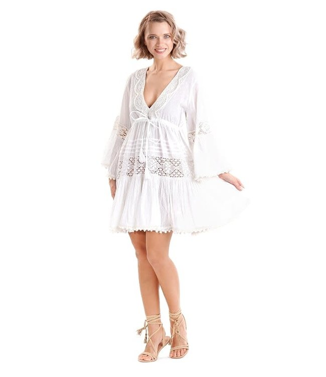 Iconique Brenda 3/4 Sleeve Dress White
