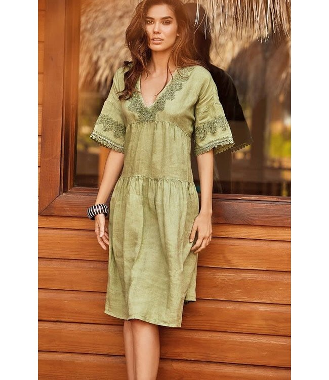 Iconique Ori 3/4 Sleeve Midi Dress Military Green