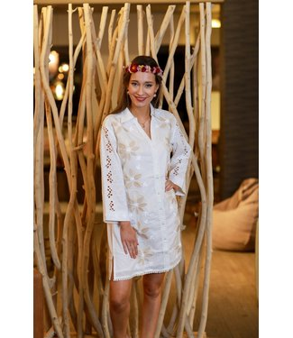 DavidBeach Kos 3/4 Sleeve Shirt Dress White