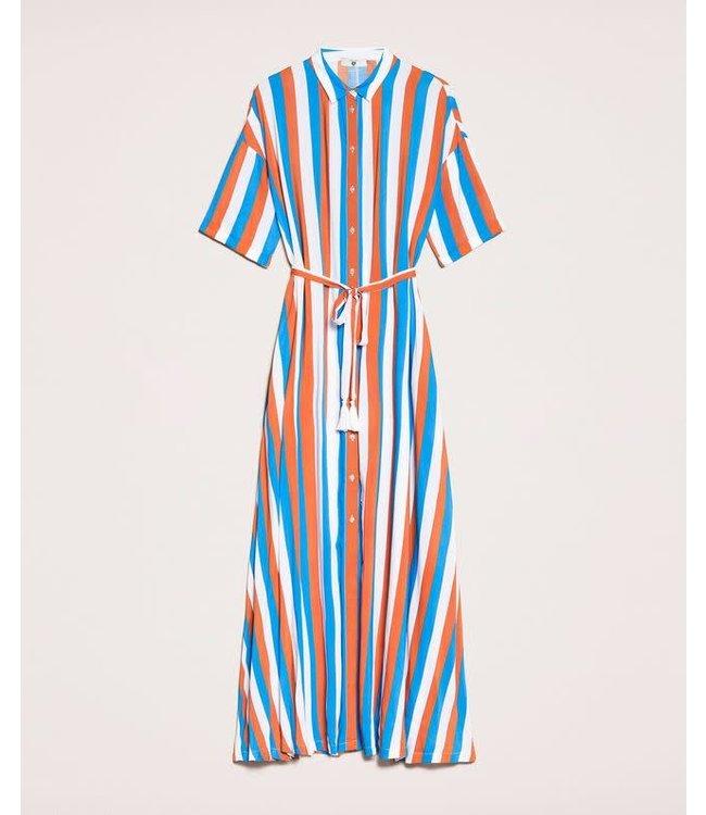 Twin-Set Striped Dress Multicolor 201LM2FBB Blue/Choco/Ottico