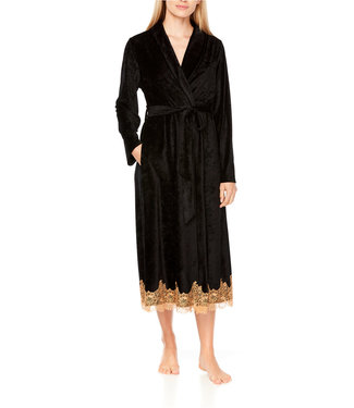 Coemi Ginger Dressing Gown Long Black/Gold C404
