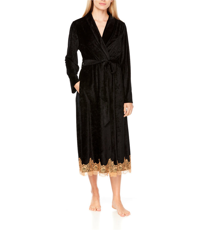 Coemi Ginger Dressing Gown Long Black/Gold C404