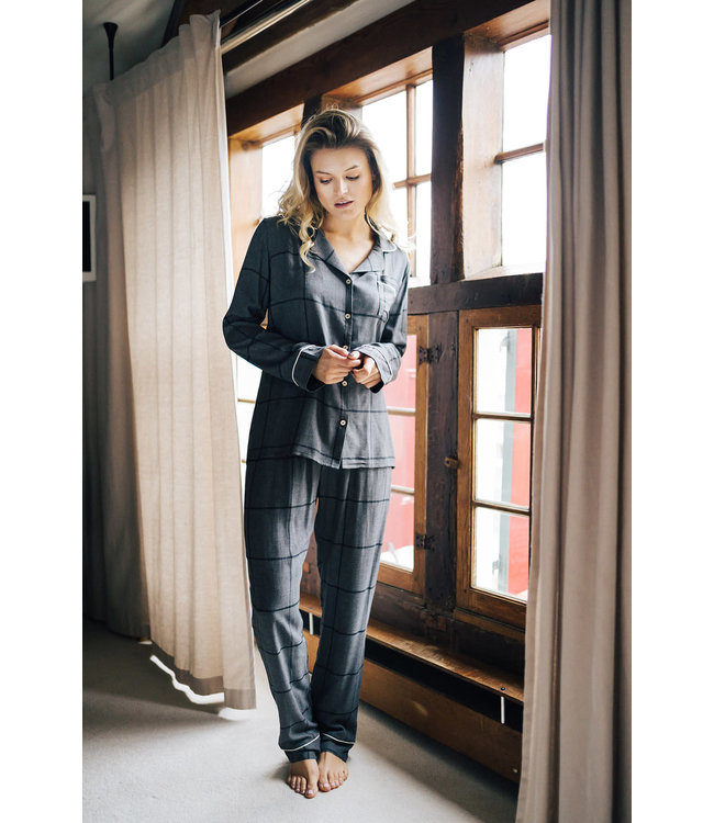 Alice et Maman Chloe Pyjama Carreaux Gris/Noir