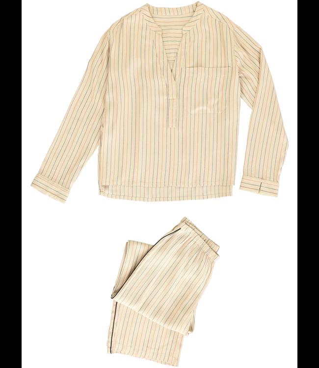 Dorélit Girls Pyjama Set Dione Shirt&Deneb Woven Beige