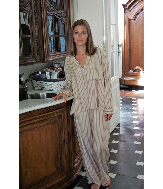 Dorélit Women Pyjama Set Dione Shirt&Deneb Woven Beige