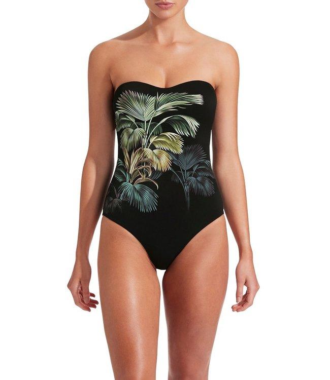 Jets Swimwear Evoke Bandeau Onepiece Green Palm