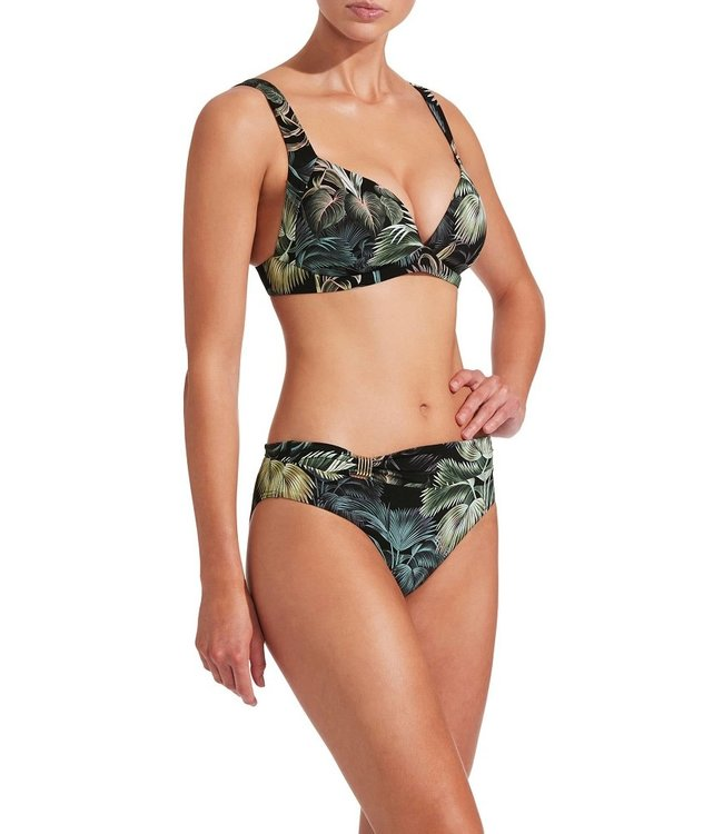 Jets Swimwear Evoke Mid Rise Bikini Pants Green Palm