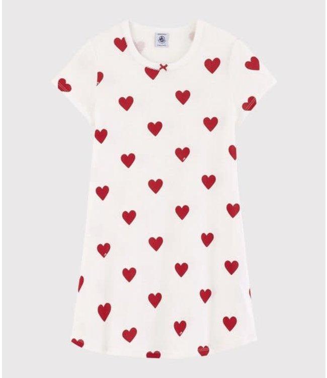 Petit Bateau Meisjes Nachtkleedje Red Heart Marshmallow
