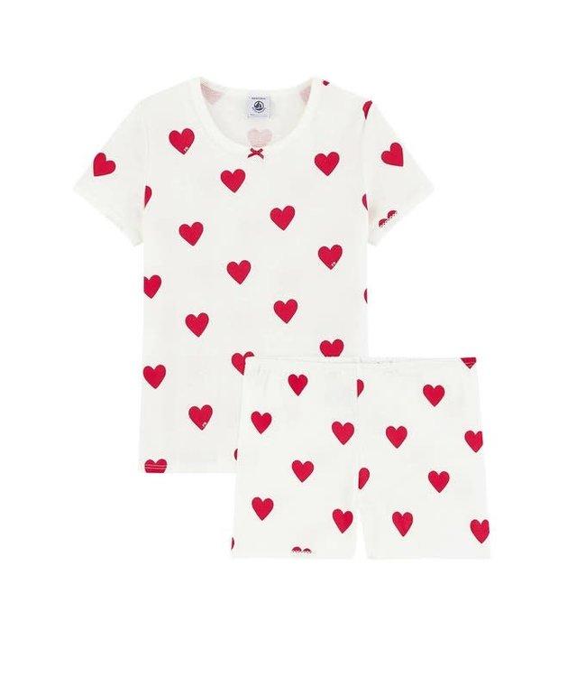 Petit Bateau Meisjes Shortpyjama Red Heart Marshmallow