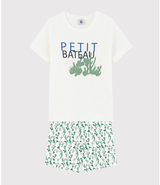 Petit Bateau Shortpyjama Martin Marshmallow/Multico