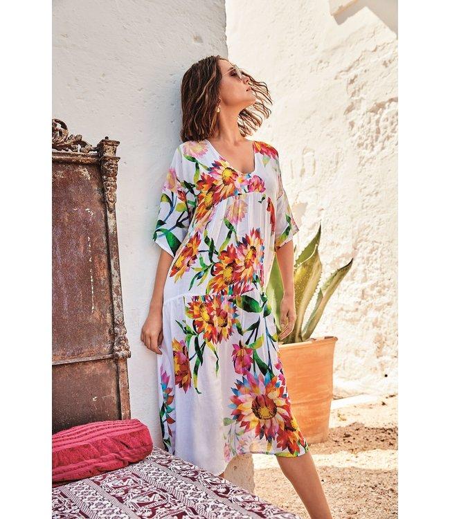 DavidBeach Bodrum Maxi Dress Rainforest  White/Orange
