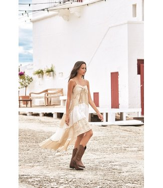 Iconique Jay Strappy Maxi Dress Linen Romance Beige