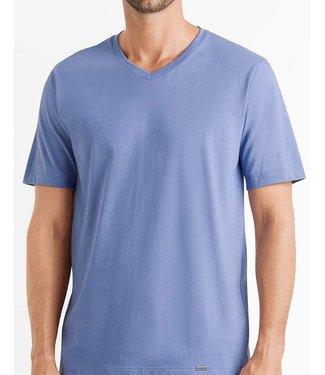 Hanro Men Short PJ-set Woven Orange Blue Stripe