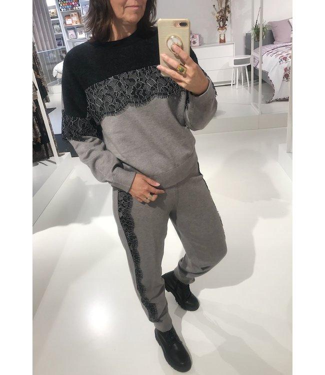 Twin-Set Homewear Lacey Part Grigio /Nero