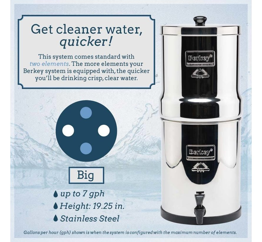 Berkey - Big Waterfilter  - Tot wel 26,5 liter per uur