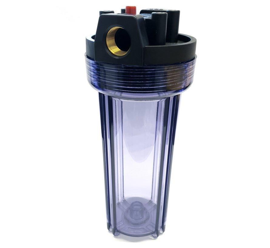 AquaPro 10'' Waterfilterbehuizing - Transparant - Metalen Fitting