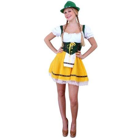 Tiroler jurk kort geel/groen