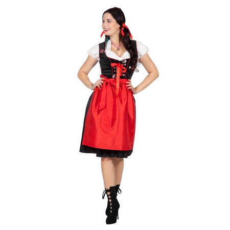 Dirndl Zwart Met Rode Schort Luxe