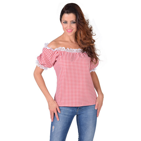 Blouse schoudervrij rood/wit