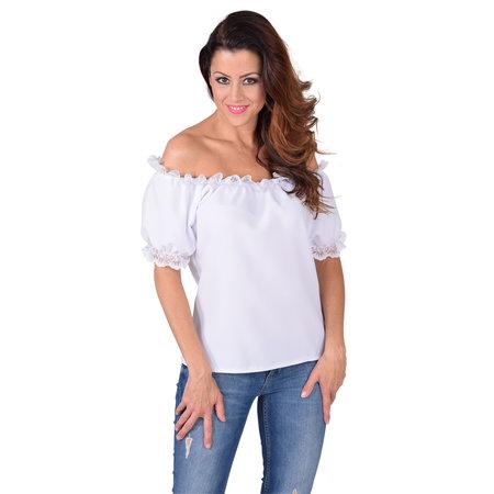 Blouse schoudervrij wit