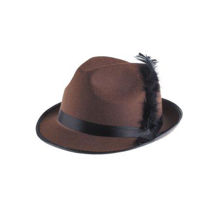 Bruine tiroler hoed met zwarte veer