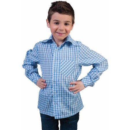 Tiroler blouse kind blauw