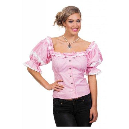 Tiroolse blouse roze/wit