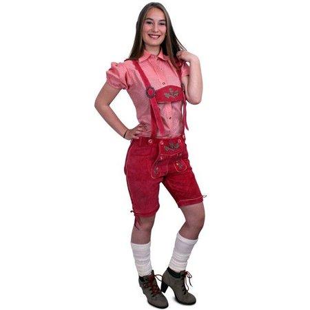 Lederhosen pink kort model dames