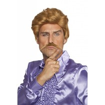Casanova pruik met snor blond koper