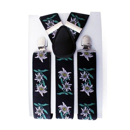 Bretel zwart + edelweis bloemetjes wit/groen