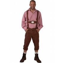 Tiroler broek met bretels Edelweiss bruin
