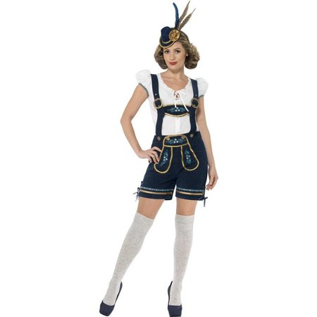 Traditionele Oktoberfest kostuum blauw vrouw