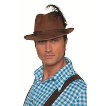 Tiroler hoed met 3 koordjes + veer